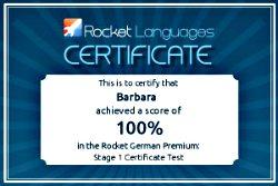 Learn German Software: Rocket German, certificate